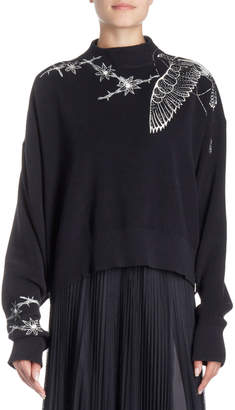 Sacai Floral-Embroidered Mock-Neck Pullover Sweater