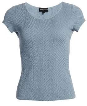 Emporio Armani Women's Chevron Cap Sleeve Tee - Grey - Size 40 (4)