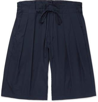 Monitaly Pleated Cotton Drawstring Shorts