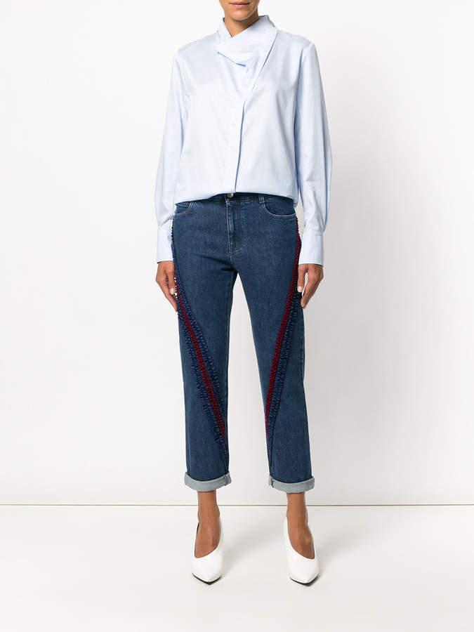 Ruffle-trimmed boyfriend jeans