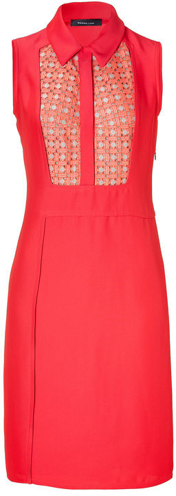 Derek Lam Coral Sleeveless Linen Inset Dress