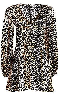 Ganni Women's Paradise Blakely Leopard Silk A-Line Mini Dress