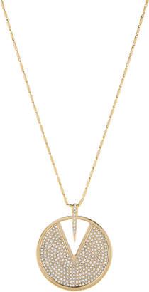 Vince Camuto Gold-Tone Pave V-Cutout Pendant Necklace