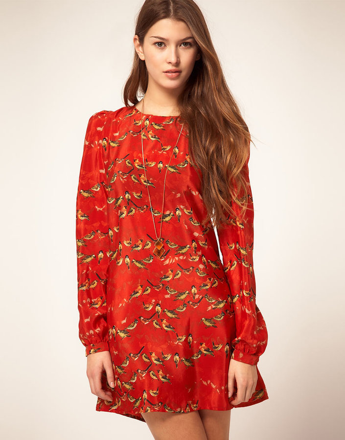 Liquorish Bird Print Dress