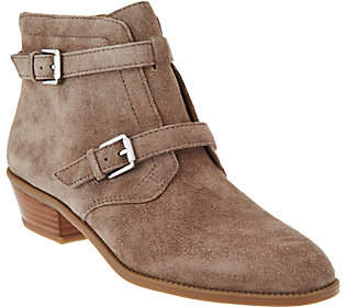 Franco Sarto Suede Ankle Boots w/ BuckleDetail - Rynn