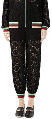 Gucci Flower Lace Jogger Pants