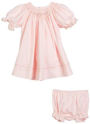 Luli & Me Button-Down Lace Trim Bishop Dress w/ Diaper Cover, Size Newborn-9M