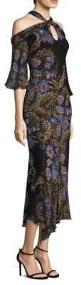 Etro Cold-Shoulder Cobalt Floral-Print Halter Silk Midi Dress