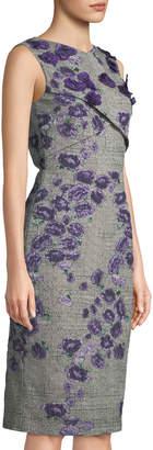 Jason Wu Sleeveless Floral-Embroidered Prince-Of-Wales Sheath Dress