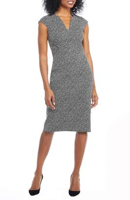 Maggy London Herringbone Notch Cut Sheath Dress