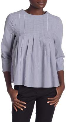 ENGLISH FACTORY Pleated Stripe Top With Tie Ribbon Back