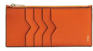 Valextra Vertical Grained Leather Cardholder - Mens - Orange