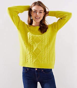 LOFT Petite Cable Tunic Sweater