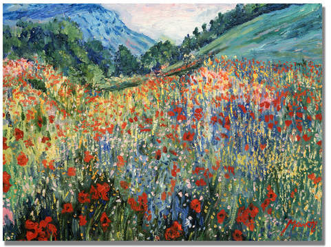 Charlton Home Field of Wild Flowers Painting Print on Wrapped Canvas