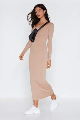 Nasty Gal Womens Love You Long Time Ribbed Maxi Dress - Beige - 14, Beige