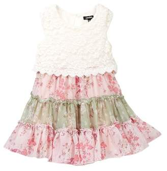 Zunie Cap Sleeve Lace Bodice Floral Dress (Little Girls)