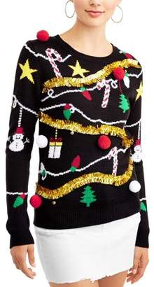No Boundaries Junior's Tinsel Embellished Holiday Printed Christmas Sweater