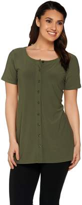 Linea By Louis Dell'olio by Louis Dell'Olio Moss Crepe Button Up Short Sleeve Shirt