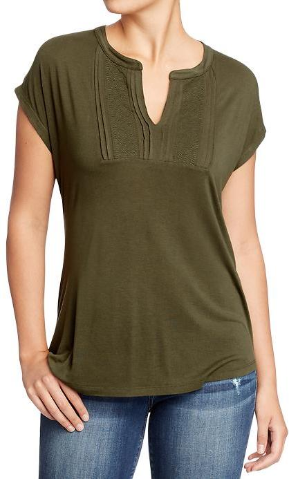 Old Navy Women's Embroidered-Yoke Dolman Tops