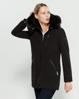 Calvin Klein Faux Fur-Trimmed Softshell Raincoat