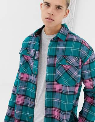 Collusion COLLUSION quilted overshirt in blue check