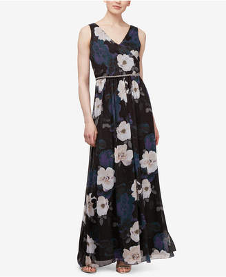 Sl Fashions Floral Print Embellished Printed Gown