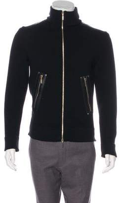 Versace Leather-Trimmed Wool Sweater