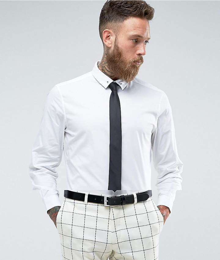 Asos Slim Shirt In White With Black Tie And Tie Pin Save