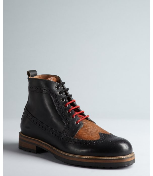 Ben Sherman black and cognac leather pinked and tooled contrast laced 'Cranston' boots