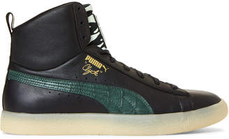Puma Black & Green Clyde Zamunda Mid-Top Sneakers