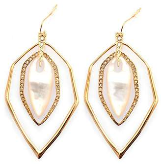 Mother of Pearl De Buman 18K Yellow Goldplated or 18K Rose Goldplated & Mother-of-Pearl or Black Agate Earrings (18K Yellow Goldplated)