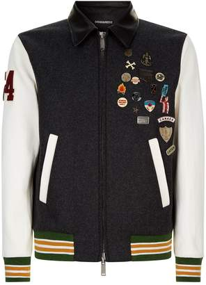 DSQUARED2 Badge Embellished Bomber Jacket
