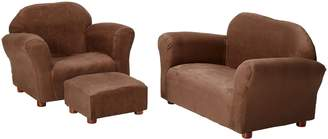 Keet Roundy Microsuede Children's Chair, Sofa and Ottoman Set