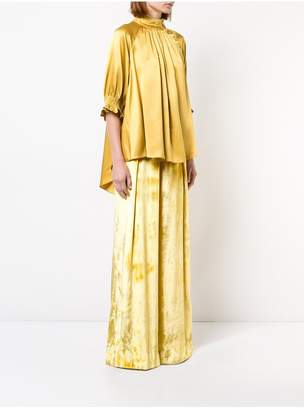 ADAM by Adam Lippes Silk Charmeuse Mockneck Blouse With Smocked Sleeve