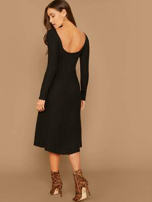 Shein Low Back Rib-knit Fitted Sweater Dress