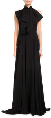 Redemption Mock-Neck Silk Georgette Halter Gown