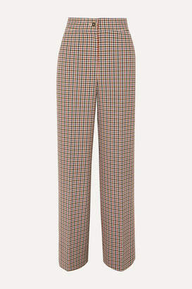 Tory Burch Checked Woven Wide-leg Pants - Brown