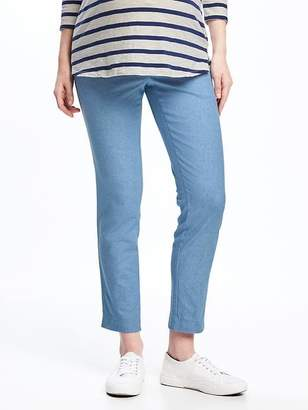 Old Navy Maternity Side-Panel Linen-Blend Pixie Ankle Pants