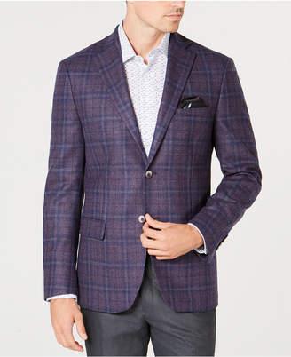 Tallia Men's Big & Tall Slim-Fit Purple Plaid Sport Coat
