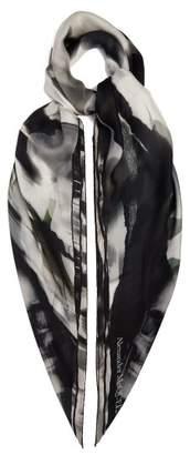 Alexander McQueen Abstract Rose Print Silk Scarf - Womens - Black