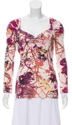 Just Cavalli Floral Printed Puff Sleeve Top