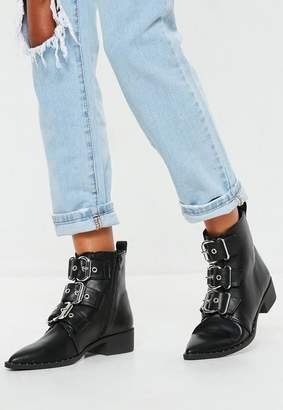 Missguided Black Three Buckle Pointed Biker Boots