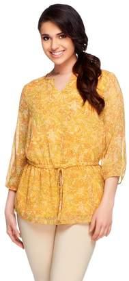 Liz Claiborne New York 3/4 Sleeve Elastic Waist Printed Tunic