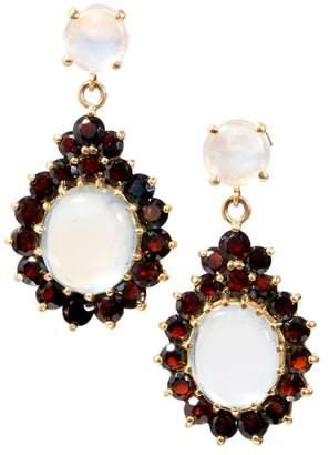 14K Yellow Gold Blue Moonstone & 4.50ct Red Garnet Dangle Earrings