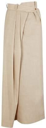 A.W.A.K.E. Mode Pirt Sand Asymmetric Wool Maxi Skirt