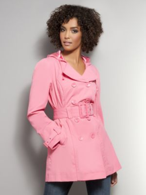 Double-Breasted Full Belted Hooded Trench Coat