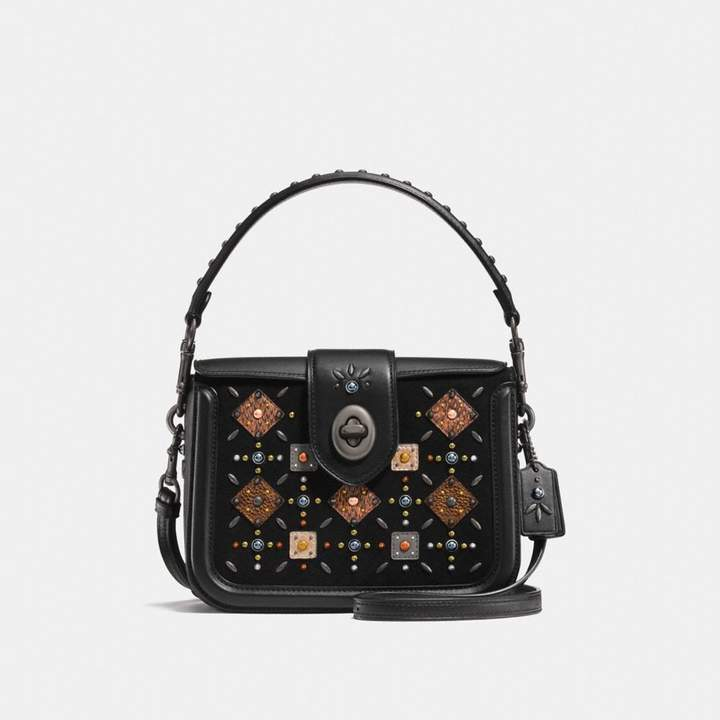 Coach New YorkCoach Page Crossbody With Prairie Rivets And Snakeskin Detail - BLACK/BLACK COPPER - STYLE