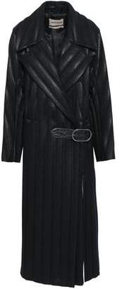 Roberto Cavalli Leather-trimmed Quilted Coated Wool-blend Trench Coat