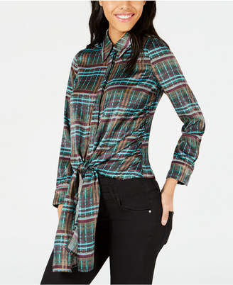 J.o.a. Printed Button-Down Tie-Front Shirt