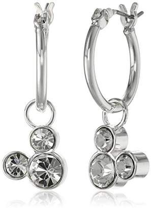 "Disney Girls'""Minnie and Mickey Mouse"" -Plated Hoop Earrings"